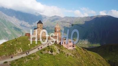 2019 - Aerial Video Of The Gergeti Monastery And Church Overlooking The Caucasus Mountains In The Republic Of Georgia - Video Drone Footage