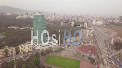 Foggy Aerial Video Of Downtown And Business District In Tblisi, Republic Of Georgia - Video Drone Footage