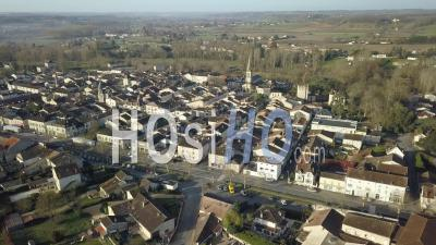 Aerial View Of Village Of Eymet In Sunset - Drone Point Of View