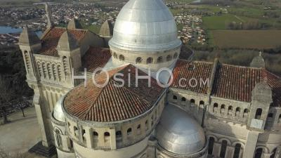Aerial View Of Notre Dame De Peyragude On His Hill Overlooking The Lot - Drone Point Of View