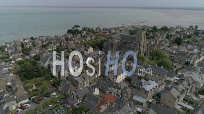 The Summer Market Of Cancale, Brittany, France - Drone Stock Footage