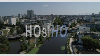Rennes City In Summer By The River Vilaine - Video Drone Footage