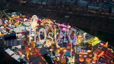 Winter Wonderland Amusement Park, Hyde Park At Night, London Filmed By Helicopter