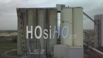 Huge Grain Silo Of Industrial Area Of Bassens - Video Drone Footage