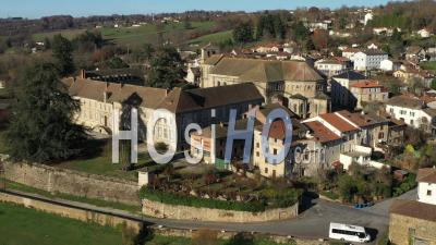 Abbey Church Of Solignac In Autumn - Video Drone Footage
