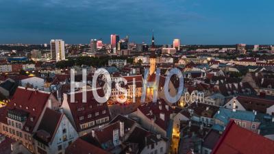 Tallinn Skyline Estonia Night, Evening, Sunset - Video Drone Footage