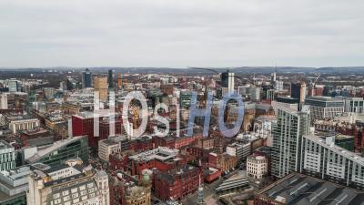 Manchester City Skyline England United Kingdom Day - Video Drone Footage