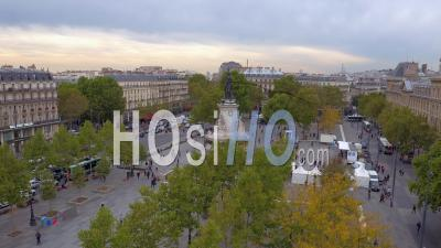 Place De La Republique In Paris - Roofs Of Paris - Video Drone Footage