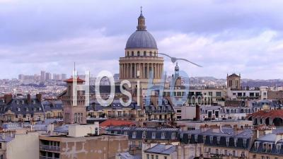 The Dome Of The Pantheon - Roofs Of Paris - Latin Quarter - Video Drone Footage