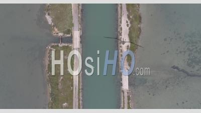 Pathways Between The Ponds In Frontignan, Filmed By Drone In Winter