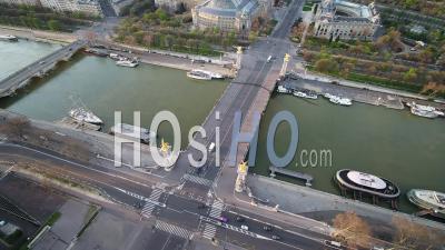 Pont Alexandre 3 Bridge And Eiffel Tower, During Paris Lockdown 03/2020 - Video Drone Footage