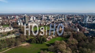 Establishing Bird Eye Aerial View Shot Of Cardiff Wales United Kingdom Day - Video Drone Footage