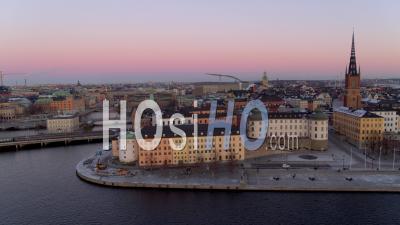 Vue Aérienne Sur Riddarhomen, Stockholm Suède - Séquence Vidéo De Drone