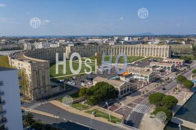 Place De L'europe In Montpellier By Drone, During Covid-19