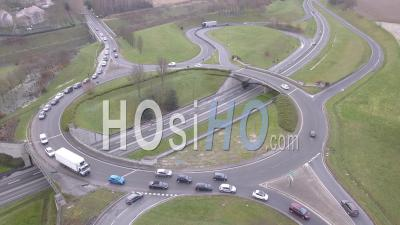 Roundabout Seen From Above - Video Drone Footage