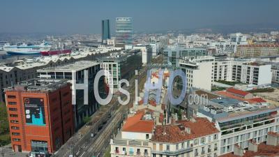Place De La Joliette In Marseille City At Day 12, France - Video Drone Footage