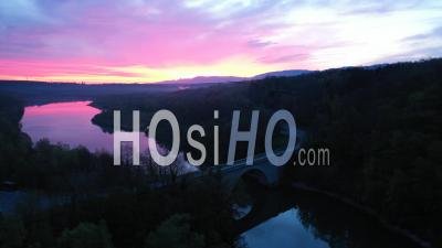 Lever Du Soleil Sur Le Rhône Vue Par Drone