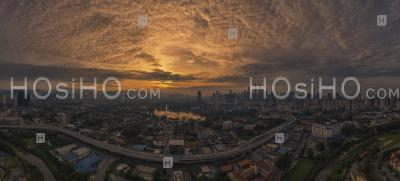 Aerial Panoramic View Of Kuala Lumpur City During Sunrise - Aerial Photography