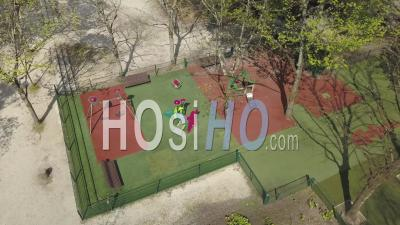 Closed Children's Play Area, Meriadeck District In Bordeaux City During Covid-19, France - Video Drone Footage