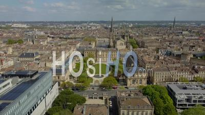 Town Hall And Meriadeck District In Bordeaux City During Covid-19, France - Video Drone Footage