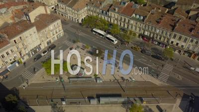 Place Paul Doumer, Chartron District In Bordeaux City During Covid-19, France - Video Drone Footage