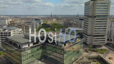 Prefecture And Bordeaux Metropole Building Meriadeck District In Bordeaux City During Covid-19, France - Video Drone Footage