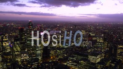City Of London, River Thames, At Dusk, London Filmed By Helicopter
