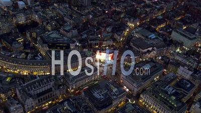Piccadilly Circus, Regent Street And Mayfair At Night, London Filmed By Helicopter