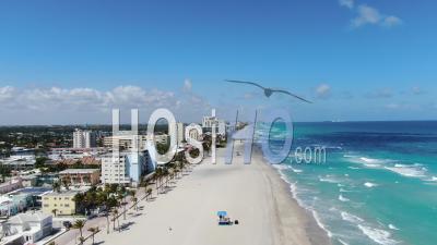 Vidéo Aérienne De Covid-19 Sur La Plage D'hollywood, En Floride - Vidéo Par Drone