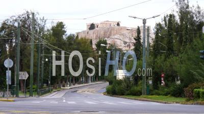 Vas Déserte. Olgas Avenue, Vue Sur L'acropole D'athènes, Confinement Grèce