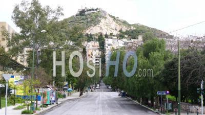 Désert Rizari Street, Vue Sur Le Mont Lycabette Athènes, Confinement Grèce