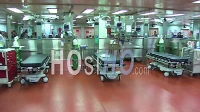 2020 - Interior Of U.S. Navy Hospital Ship Mercy As It Is Activated During Covid-19 Coronavirus Outbreak Epidemic.