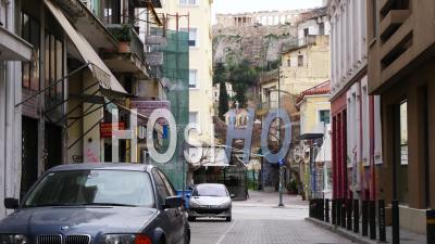 Vue De L'acropole D'athènes Depuis Les Rues Désertes, Confinement Grèce