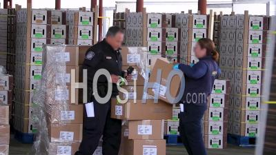 2020 - Customs And Border Patrol Agents Inspect Cargo At The Us Mexico Border Customs Area Commercial Inspection Facility In Nogales, Arizona.