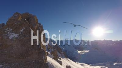 Alps Mountains In The Morning Sun, Tignes, France - Video Drone Footage