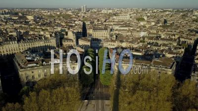 Aerial View, Bordeaux City During Covid19, Place Des Quinconces, Monument Aux Girondins - Video Drone Footage