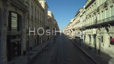 Aerial View Of Bordeaux City , Luxury Shopping Street, Cours De L'intendance, The Golden Triangle - Video Drone Footage