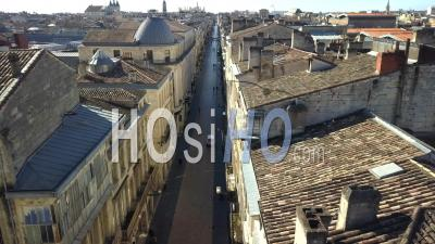 Aerial View Of Shopping Street Sainte Catherine, Customer Service Empty In Bordeaux City - Video Drone Footage