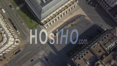 Aerial View Of Bordeaux City, Unesco, The Golden Triangle, Place De La Comedie, Grand Theater - Video Drone Footage