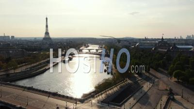 Quays Of The Seine And Street Of Paris During The Quarantine, Drone Point Of View