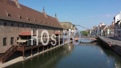 Empty City Of Strasbourg During Lockdown Due To Covid-19 - Cathedral - Video Drone Footage