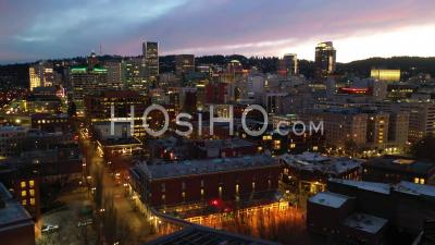 Aerial Of Downtown Business District Portland Oregon At Night. - Video Drone Footage