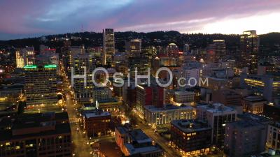 Rising Aerial Of Downtown Business District Portland Oregon At Night. - Video Drone Footage