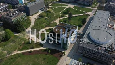 Empty City Of Strasbourg During Lockdown Due To Covid-19 - University Park - Video Drone Footage