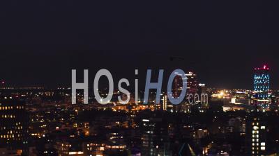 Bucharest Skyline At Night - Video Drone Footage