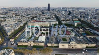 Montparnasse District During The Lockdown Of Paris - Video Drone Footage