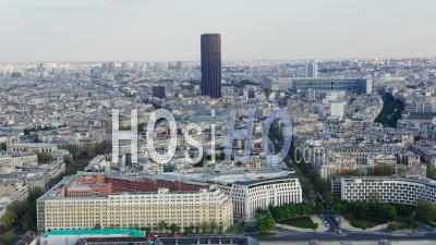Montparnasse Tower And District During The Lockdown Of Paris - Video Drone Footage