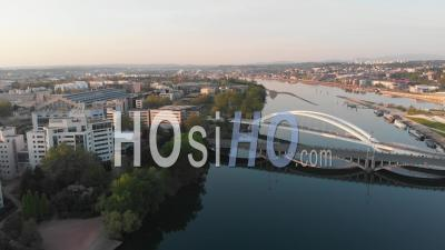 Empty Bridge During Rush Hour In The City Of Lyon During Pandemic Lockdown - Video Drone Footage
