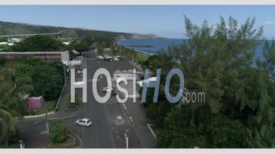Saint-Paul Town, In Reunion, Deserted During Confinement, - Video Drone Footage