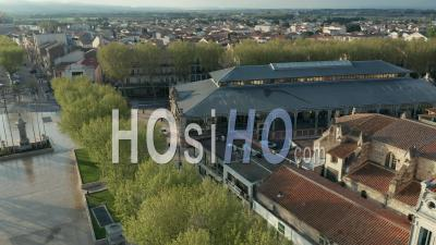 Narbonne Halles Covered Market - Video Drone Footage